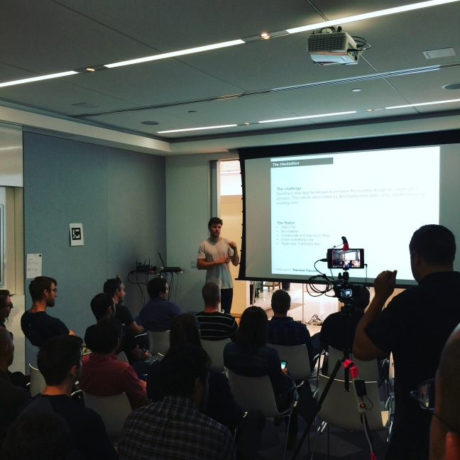 Jonatan Schumacher presents at a recent hackathon hosted by Thornton Tomasetti